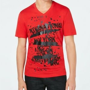 INC Text Graphic T-Shirt Licorice Red Mens Small